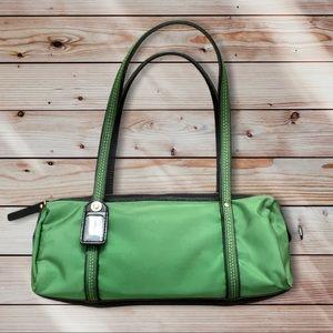 Kate Spade green nylon barrel purse 11x3.5x4.5